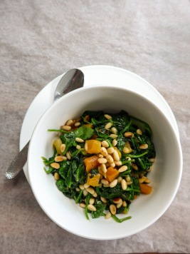 Spinach, Apricots and Pine Nuts tapas on allthatshecraves.com