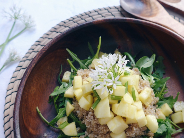 BBQ Sides: Quinoa, Apple and Wild Garlic Flower Salad on allthatshecraves.com